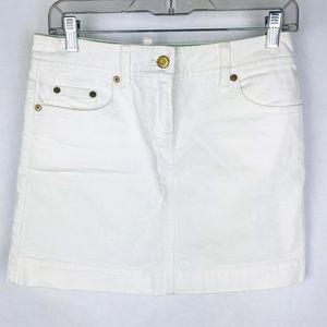 J. Crew White Jean A-lIne Mini Skirt